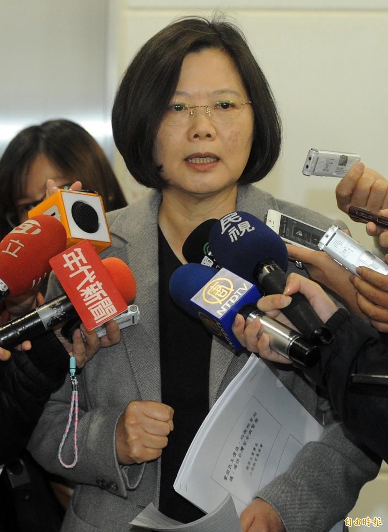 圖為蔡英文2013年就宇昌案審理狀況受訪畫面。(資料照)