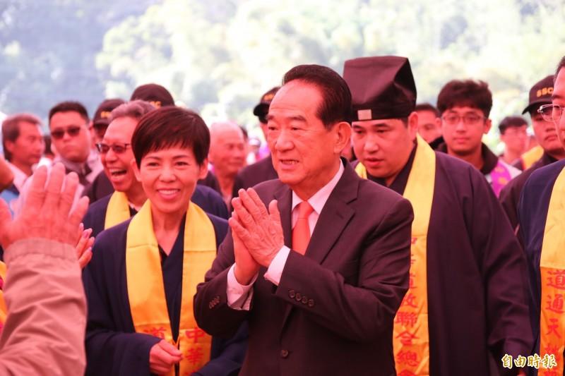 親民黨總統候選人宋楚瑜今早出席中華道教聯合總會祝嘏大典。(記者鄭名翔攝)