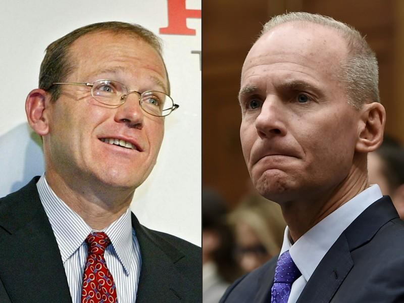 美國波音公司今日宣布,總裁米倫伯格(右)已經下台,明年1月將由董事會主席卡爾洪(左)接任。(法新社)