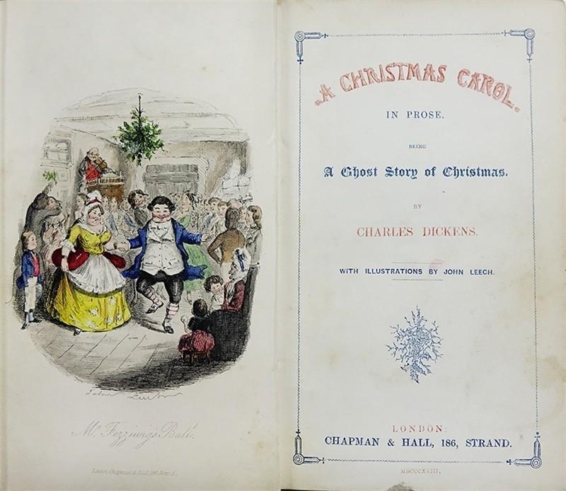 1843年印刷的狄更斯《聖誕頌歌》。(圖取自國家圖書館網頁)
