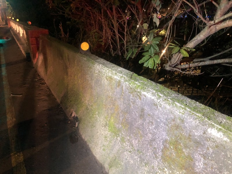 婦人疑似在此處遭機車撞落橋下邊坡。(記者吳昇儒翻攝)