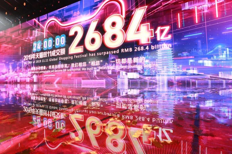 中國消費者在「雙11」購物節創下新紀錄,總成交額達2684億人民幣。(路透)