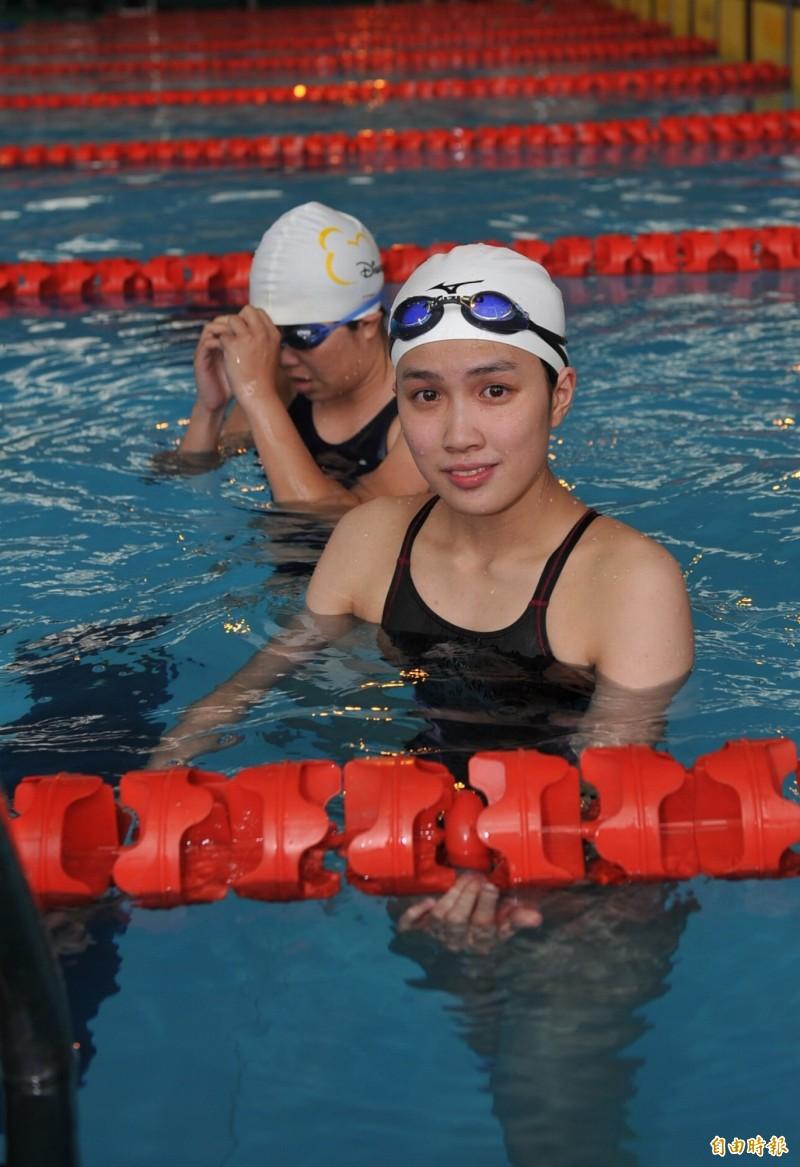 洪婕庭在2011年全大運游泳蛙式比賽留影。(資料照)
