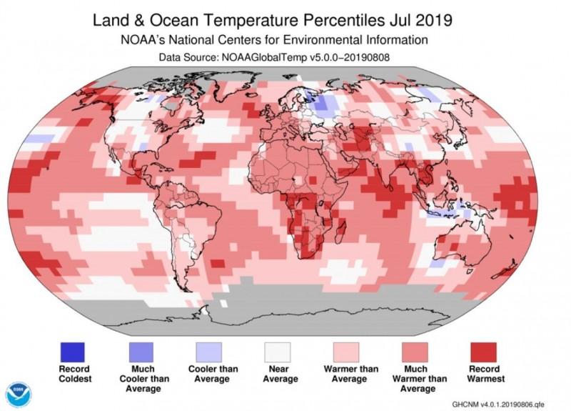 美國國家海洋暨大氣總署指出,2019年7月是全球有紀錄以來最炎熱的月分。(NOAA網站)