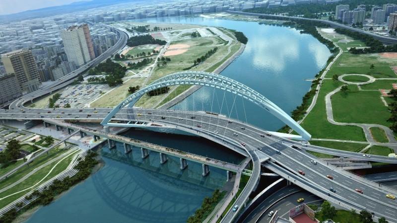 中正橋改建完工後的模擬圖。(台北市新工處提供)
