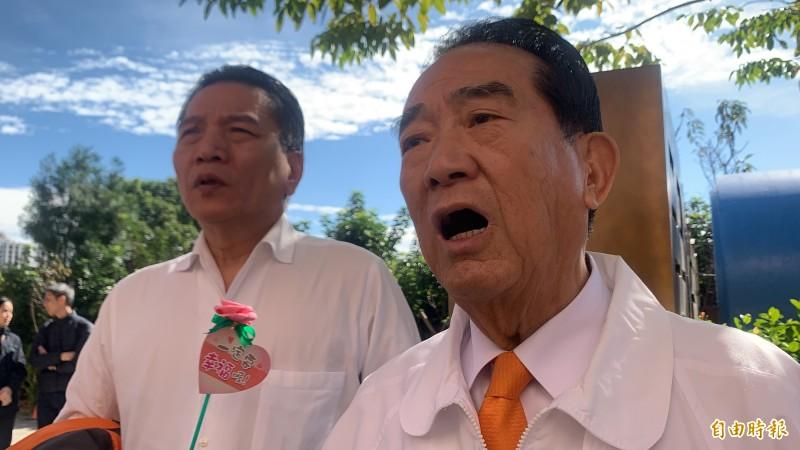 親民黨總統候選人宋楚瑜批反滲透法草案操之過急。(記者許倬勛攝)