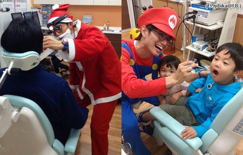 醫師乾智一扮成耶誕老人(左)及瑪利歐(右)看診,獲得患者好評。(圖擷取自39jibika@FB)