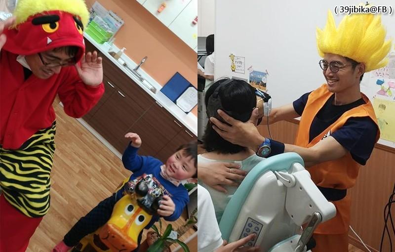 醫師乾智一扮成赤鬼(左)及人氣動漫《七龍珠》的角色孫悟空(右)看診。(圖擷取自39jibika@FB)
