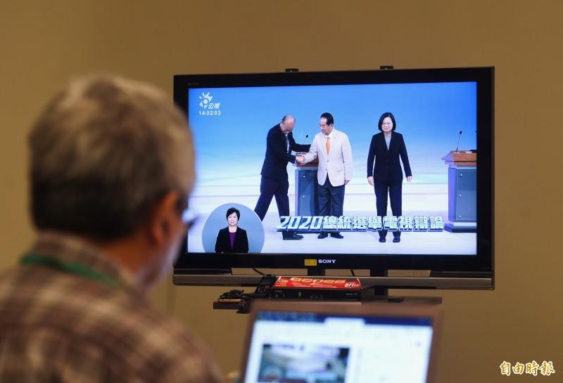 總統選舉唯一一場辯論會29日在公視舉行。(記者方賓照攝)
