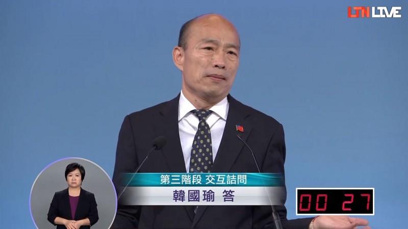 國民黨總統候選人韓國瑜在結論時表示,台大法律系「好像不太會當總統」,越當越差,2020還要台大法律系的當總統嗎?(圖擷取自本報直播)
