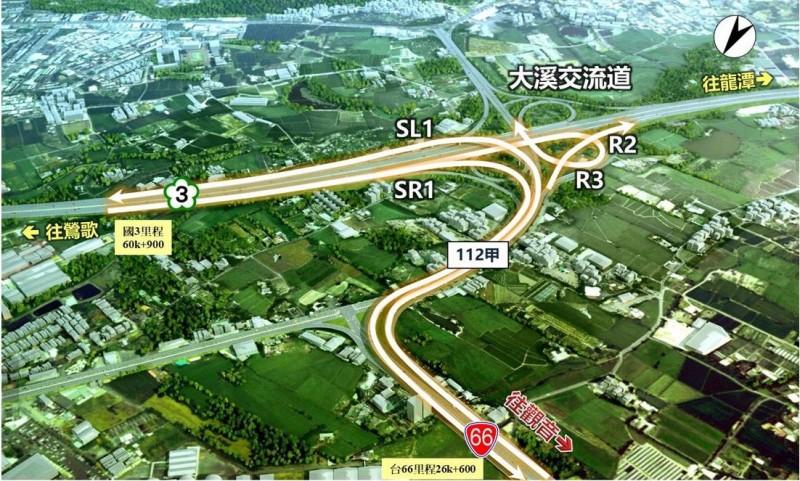 高速公路局展示國道3號銜接台66線增設系統交流道工程示意圖。(記者李容萍翻攝)