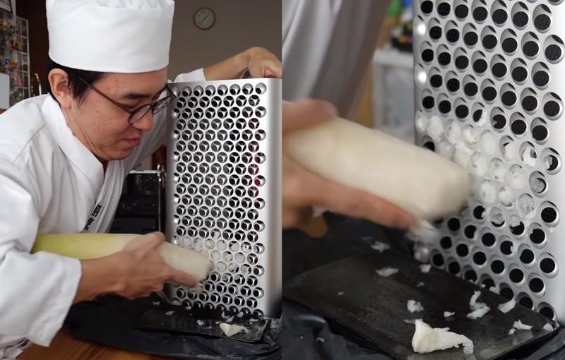 日本一名網紅利用蘋果公司推出的Mac Pro來刨蘿蔔泥,引發網友熱烈回響。(圖擷自瀨戶弘司YouTube頻道)