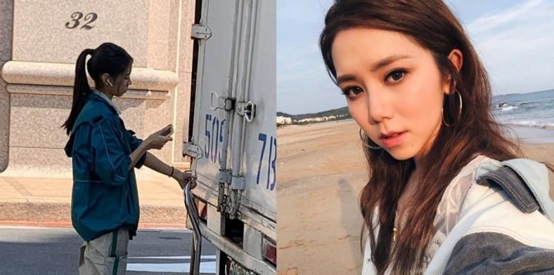 網友認為,照片中的物流貨車女司機(左),長相與香港歌手鄧紫棋(右)長相神似。(左圖取自爆廢公社,右圖取自鄧紫棋微博)