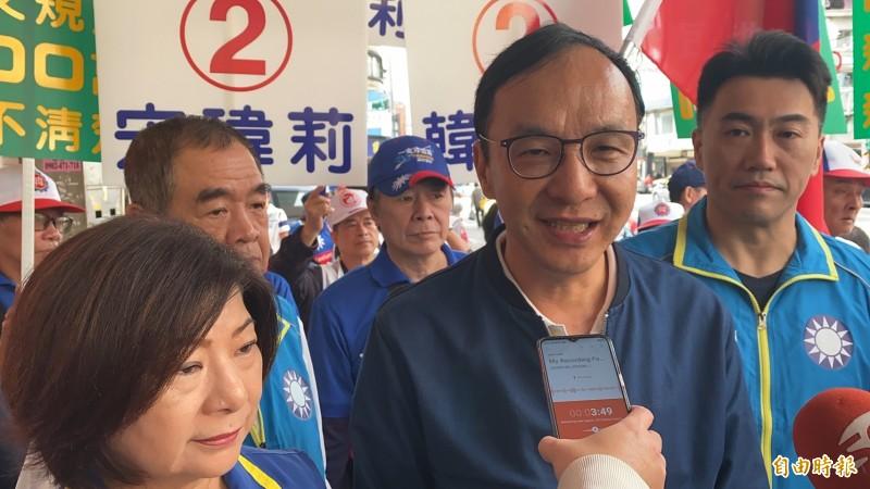 國民黨韓國瑜競選總部主委朱立倫受訪時表示,今天來基隆輔選不談棄保,只要大家以大局為重,大家團結集中選票支持宋瑋莉,國民黨就會贏。(記者俞肇福攝)
