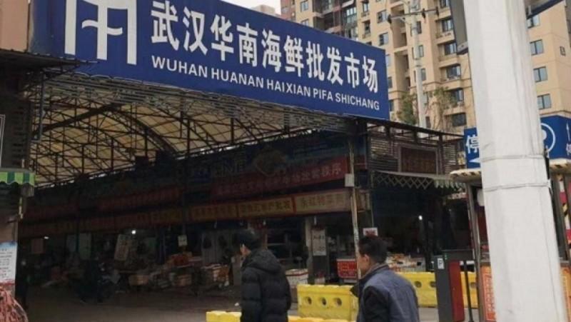 最初傳出「不明肺炎」的「武漢華南海鮮批發市場」。(圖取自網路)