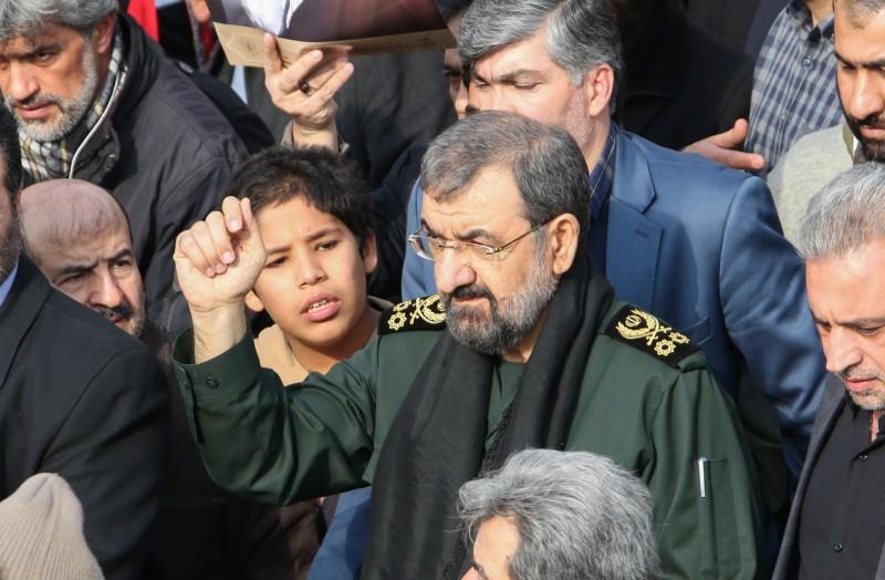 伊朗革命衛隊前領袖瑞札伊向美國嗆聲,「若敢回擊,伊朗將會攻擊以色列」。(法新社)