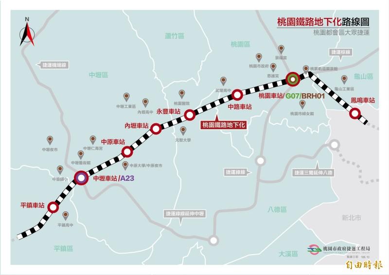 國發會審查通過桃園鐵路地下化綜合規劃報告,桃園市負擔251.65億元。(桃園市捷運工程局提供)