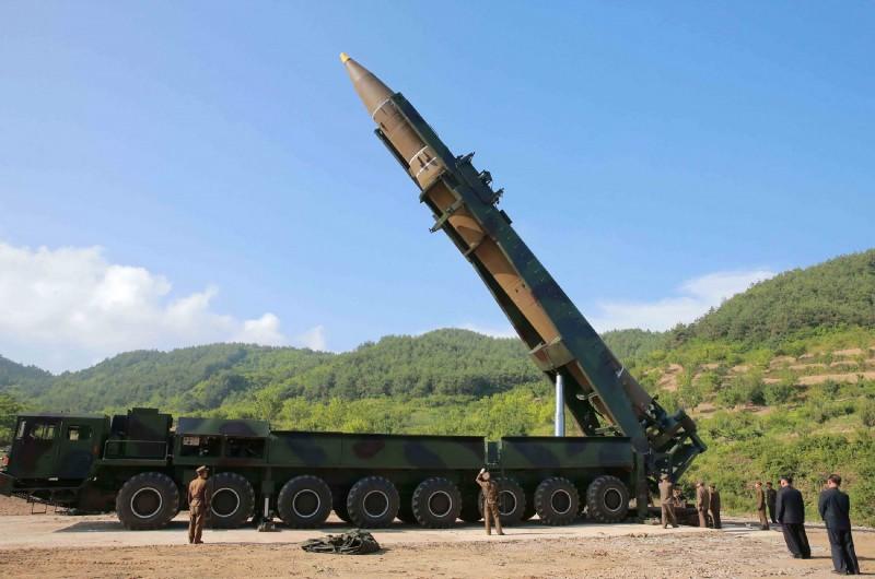 北韓「火星-14型」飛彈。(法新社)