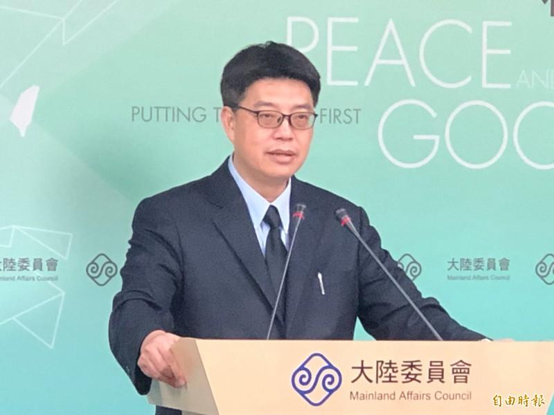 陸委會副主委兼發言人邱垂正今天在例行記者會表示,任何人企圖以不當或不法方式介入影響選舉,都不會為台灣人民所接受。(資料照)