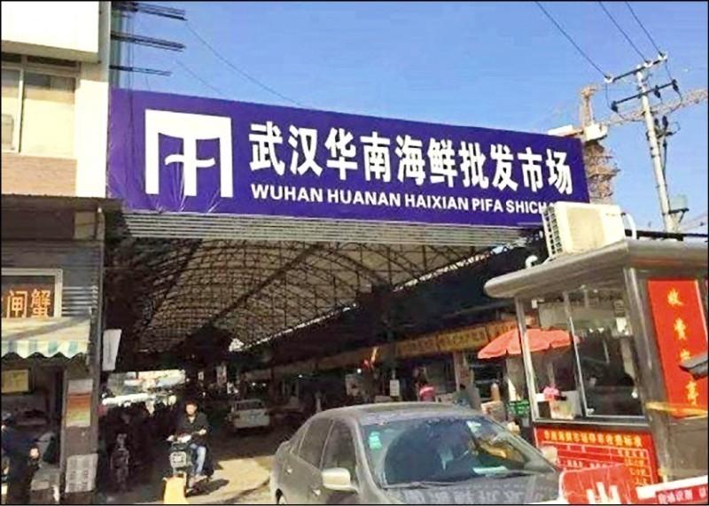 傳出「不明病毒性肺炎」的中國武漢市「華南海鮮批發市場」。(圖取自網路)