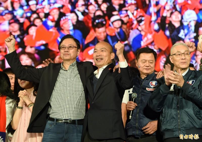 2020總統大選將於明日登場,今晚3組候選人都將舉辦選前之夜造勢活動。圖為韓國瑜、張善政昨日出席造勢晚會情形。(資料照)