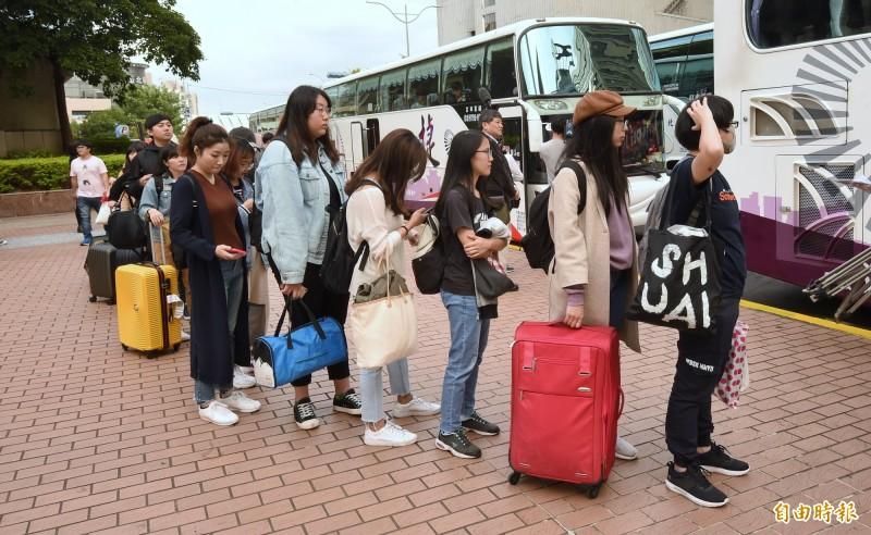 台灣青年民主協會主辦、台灣學生聯合會合辦的「2020青年民主返鄉列車」,獲得青年學生和社會大眾熱烈迴響,共有5589人參與,超過3300位青年受惠以111元車票,今天自各縣市啟程,載送年輕人返鄉投票。(記者劉信德攝)