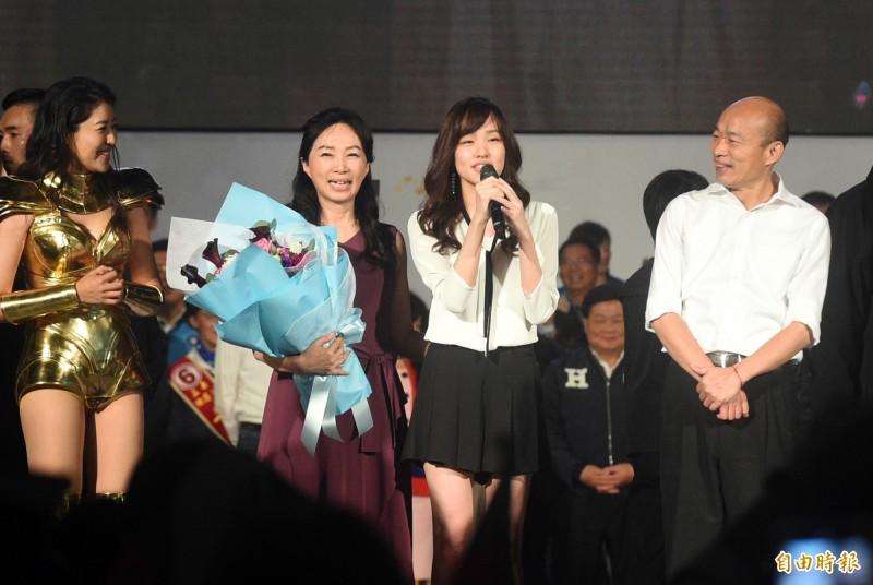 國民黨總統候選人韓國瑜今晚在高雄的選前之夜,由女兒韓冰壓軸登場。(記者張忠義攝)