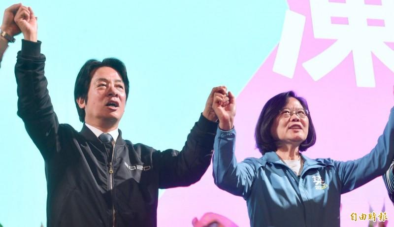 謝志偉表示,德國媒體空前密集報導台灣選舉,稱台灣是華人社會的民主典範。圖為3號正、副總統候選人蔡英文、賴清德。(資料照)