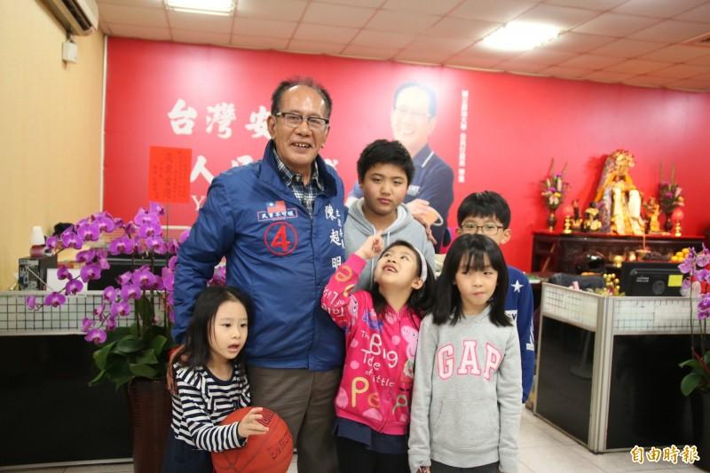 國民黨立委陳超明自行宣布當選。(記者鄭名翔攝)
