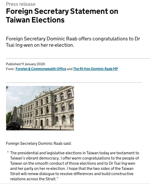 英國外交大臣拉布(Dominic Raab)發布聲明,恭賀蔡英文博士當選連任,並呼籲兩岸重啟對話、建立建設性關係。(翻攝自英國政府官網)