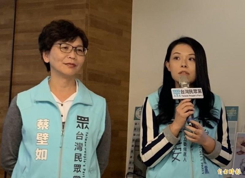 外傳郭台銘要子弟兵、當選台灣民眾黨不分區的鴻海集團大數據辦公室主任高虹安(右)退出民眾黨,蔡壁如(左)否認這個消息。(資料照)