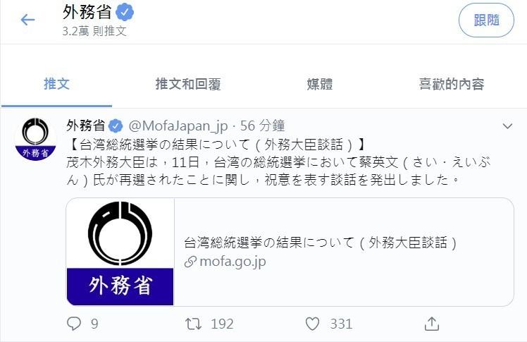 台灣大選蔡英文總統成功連任,日本外務省在官網發布外相茂木敏充祝賀談話,並透過推特向外公告。(圖擷自推特)