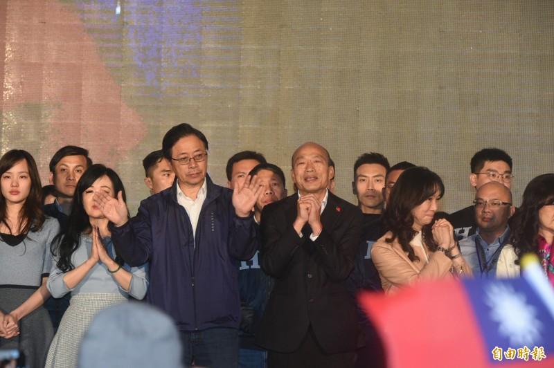 國民黨總統候選人韓國瑜晚間8時30分上台發表敗選感言,他承認敗選,並表示已經打電話向總統蔡英文祝福,希望明天起來,還是見到一個團結的台灣。(記者張忠義攝)