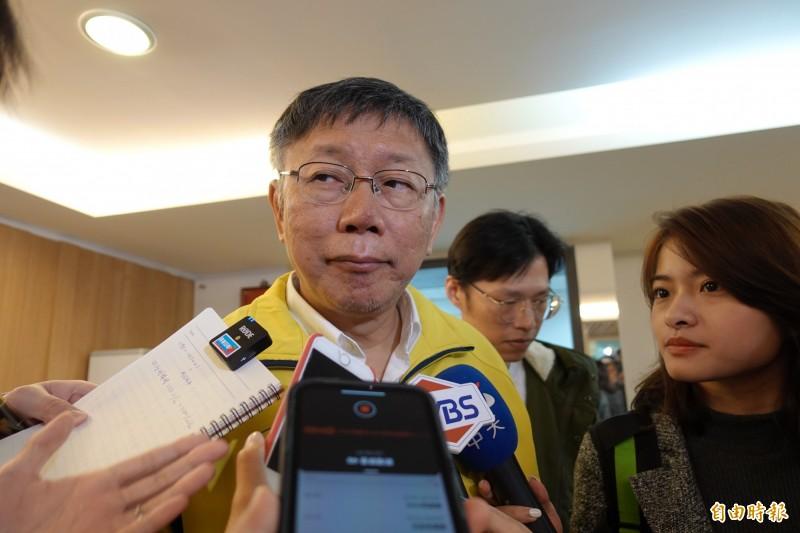 台北市長柯文哲今天上午並未安排公開行程,但現身黨部開會。(記者沈佩瑤攝)
