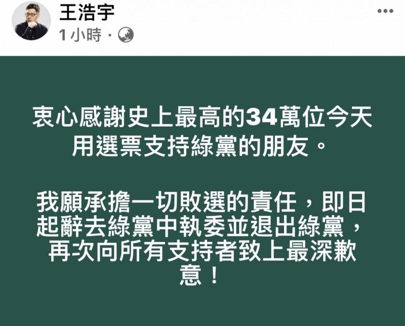 王浩宇宣布退黨為敗選負責!強調綠黨抗中護台的路線沒錯。(擷圖王浩宇臉書)