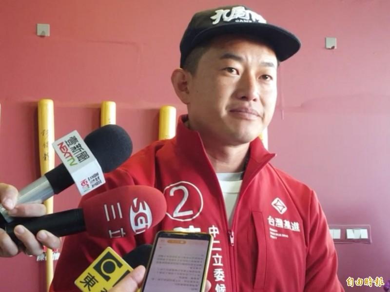 當選台中第2選區立委的陳柏惟,今天表示得知洪慈庸落選時難過落淚。(記者陳建志攝)