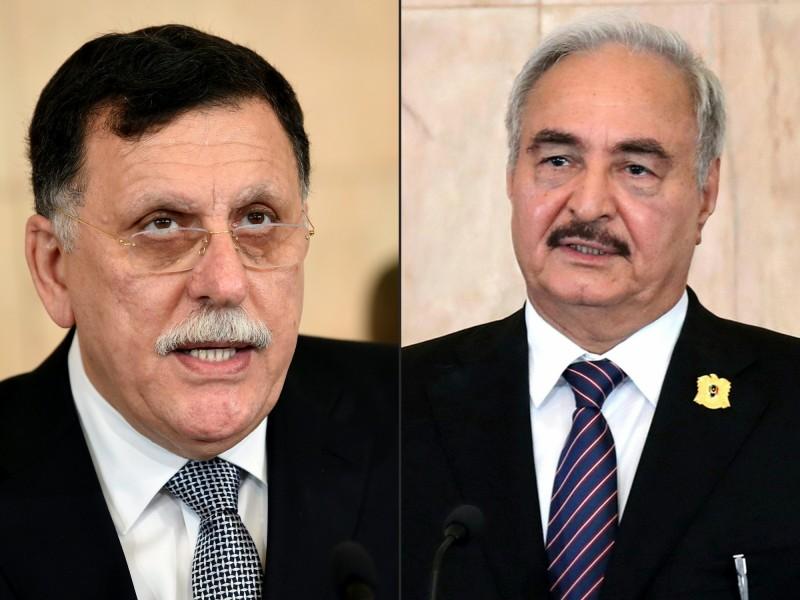 利比亞民族團結政府總理沙拉吉(左),及「利比亞強人」哈夫塔(右)。(美聯社)