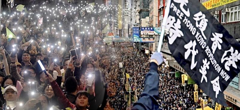 台灣民眾在2020年總統大選守住台灣,香港人對此慶賀。(本報照與路透合成圖)
