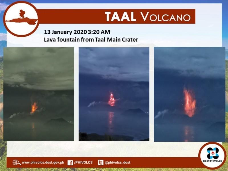菲律賓塔爾火山今(13日)開始噴出岩漿,目前已有8000多人疏散,當局警告可能會發生火山海嘯。(圖擷自Phivolcs臉書)