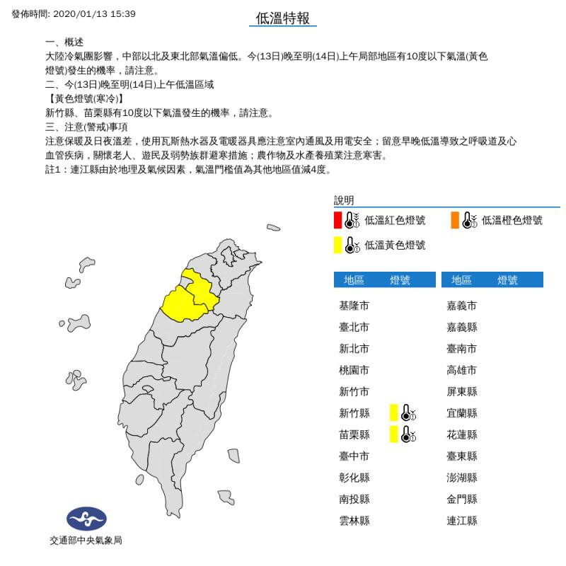 氣象局今下午3點39分仍針對新竹縣、苗栗縣發布低溫特報,提醒民眾多加留意保暖措施。(圖擷自中央氣象局)