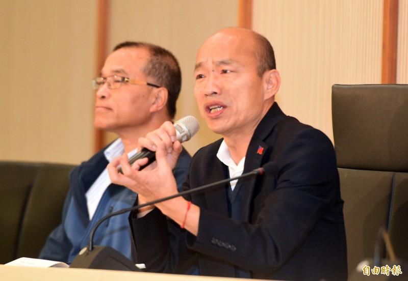 韓國瑜今天向高雄市民抱歉,指自己整整3個月時間離開高雄,沒有好好陪大家,非常抱歉,但也強調市府團隊該做的工作並沒停下。(記者張忠義攝)
