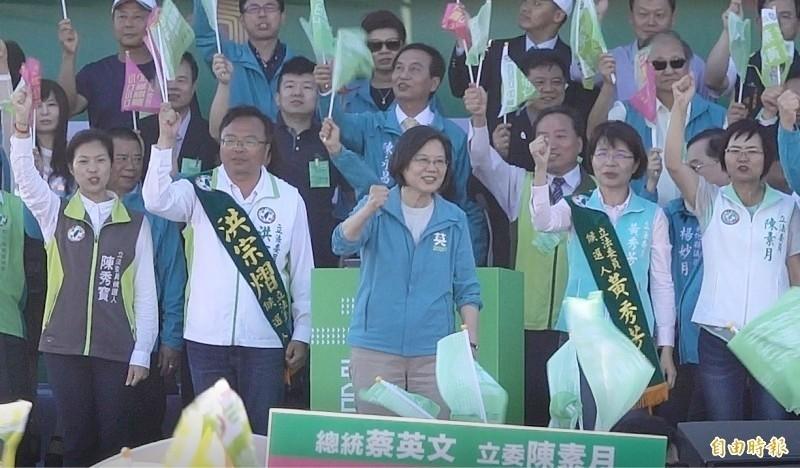 總統蔡英文選舉期間頻繁到彰化位立委候選人站台,拉抬聲勢。(資料照,記者劉曉欣攝)