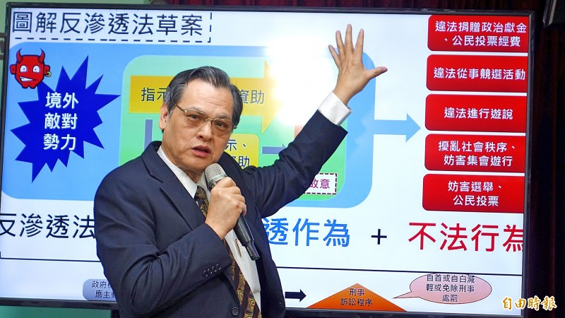 Mainland Affairs Council Minister Chen Ming-tong explains the Anti-infiltration Act at a news conference in Taipei on Jan. 2.  Photo: Wang Yi-sung, Taipei Times