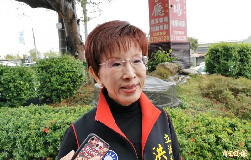 外界認為國民黨必須「去中國化」,洪秀柱(見圖)直呼無法接受,表示若要去中國化,國民黨乾脆解散。(資料照)