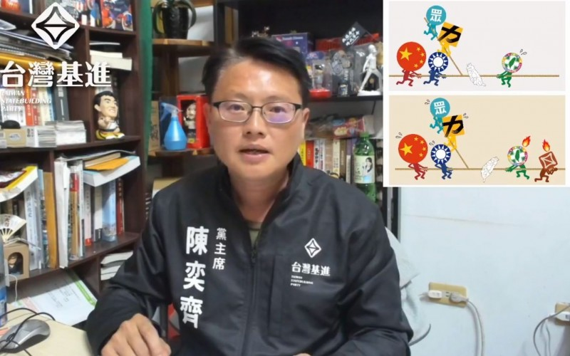 台灣基進黨主席陳奕齊昨晚分析選後台灣政局,當談到第三勢力時,以示意圖指出,台灣局勢是一個動態拔河。(圖擷自「陳奕齊 - 新一」臉書)