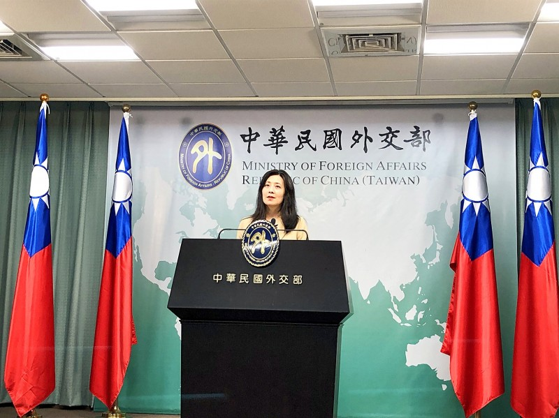 Ministry of Foreign Affairs spokeswoman Joanne Ou speaks at a news conference in Taipei yesterday.  Photo: CNA