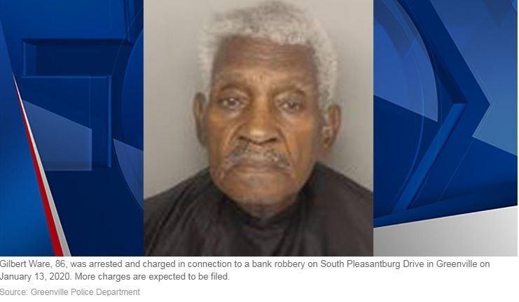 高齡86歲的吉爾伯特(Gilbert Paul Ware)搶銀行後逃跑速度太慢,幾分鐘後就被逮捕。(圖擷取自FOX CAROLINA)