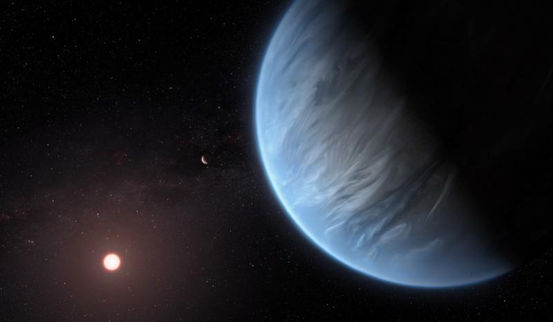 新發現的超級地球有適居潛力。圖為太陽系外行星「K2-18b」概念圖。(歐新社)