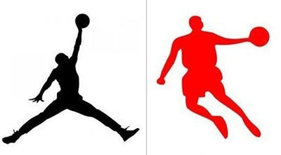 「喬丹」商標案中,中國品牌「喬丹體育」(右)遭美國Nike旗下以NBA傳奇球星麥可喬丹(Michael Jordan)命名的同名品牌「喬丹(Air Jordan)」(左)控告侵權,沒想到一、二審均判「Air Jordan」敗訴。(資料照,取自QZ)