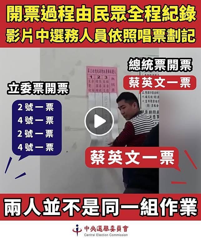 網友選後瘋傳一段開票所總統選舉開票的唱票畫面說:「聽到的2號,卻都畫在3號的欄位」。中選會則提出澄清。(圖為中選會提供)